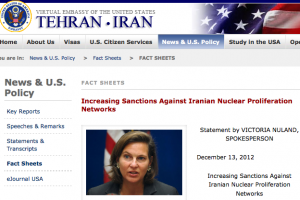 Sanctions announcement from U.S. Embassy in Iran